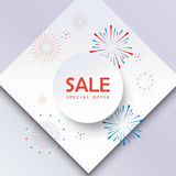 Sales. Sale banner, firework in red and blue color, white round paper frame. Festive poster, marketing banner, National Holiday Sales gift card vector template Stock Images