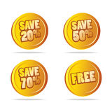 Sales save tags as icons. Vector illustration of sales buttons or tags as money coins, with different offers, editable additional file available vector illustration