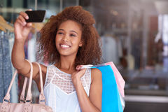 Sales and selfies at the shopping mall Stock Photos
