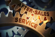 After-Sales Service on Golden Cogwheels. 3D Illustration. Stock Photos