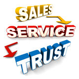 Sales service trust. On white background, concept of winning customers trust with great after sales service Stock Photos