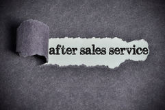 After sales service word under torn black sugar paper Royalty Free Stock Photography