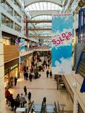 Sales , soldes period in a crowded mall Stock Photos