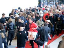 Sales!. Sonderborg, Denmark - October 1, 2013: Sales is open, customers hurry to get into the shopping mall Royalty Free Stock Image