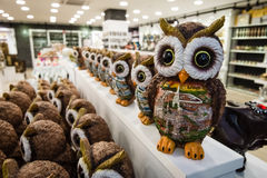 Sales of souvenirs (owl) in one of the shops Stock Photos
