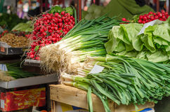 Sales of spring vegetables at the  market Stock Images