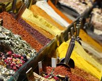 Sales stand with spices in a bazaar in Istanbul. royalty free stock image