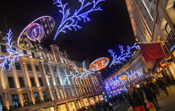 Sales started in London. Regent street in Christmas lights Royalty Free Stock Photos