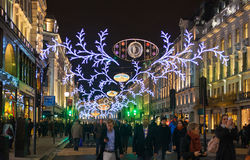 Sales started in London. Regent street in Christmas lights Royalty Free Stock Image