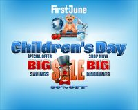 Sales of summer; Children`s day. Design, background with 3d texts, teddy bear wearing bow tie and school supplies for Children`s day, sales, commercial event Stock Image