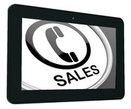 Sales Tablet Shows Call For Sales Assistance Royalty Free Stock Image