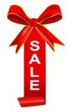 Sales tag with ribbon Royalty Free Stock Photos
