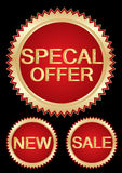 Sales  tags. Special offer red tags in black color background eps Stock Images
