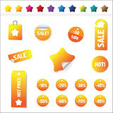 Sales Tags. Buy, Ноt, percent  and sale tags isolated on white background, vectorб isolated Stock Photos