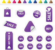 Sales Tags. Buy, Ноt, percent  and sale tags isolated on white background, vectorб isolated Royalty Free Stock Photography
