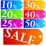 Sales tags. Colorful sales tags announcing several discounts Stock Image