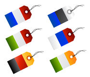 Sales tags as flags. Illustration of product tags for price with different flags of europe as russia, italy, france, germany, ireland, netherlands, hungary Stock Image