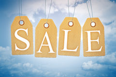 Sales tags in the blue sky Stock Photos