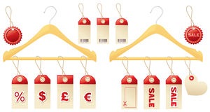Sales tags and clotheshangers. Stock Photography