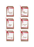 Sales tags with ribbons Stock Photos