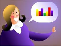 Sales talk. Business woman talking about sales statistics vector illustration
