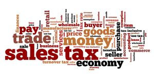 Sales tax. Finance issues and concepts tag cloud illustration. Word cloud collage concept Stock Image