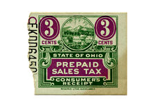 Sales Tax Stamp. An Ohio vintage sales tax stamp receipt Royalty Free Stock Image