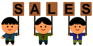 Sales team. Illustration of three business men holding a placard that spells sales stock illustration