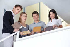 Sales team showing wood samples Royalty Free Stock Image