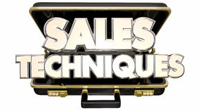 Sales Techniques Process System Advice Tips Briefcase. 3d Words Stock Photos