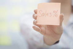 Sales text on adhesive note Royalty Free Stock Photo