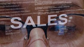 Sales text on female software developer vector illustration