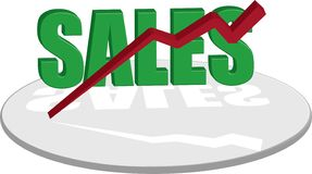 Sales text green down. A sales logo style image that show a decline in fortune vector illustration
