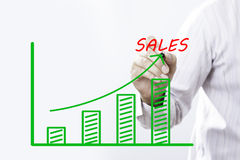 Sales text with hand of young businessman Royalty Free Stock Photo