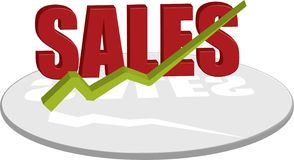 Sales text red up. A logo style image that illustrates the sales vector illustration