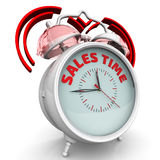 Sales time. The alarm clock with an inscription. Alarm clock with the words `SALES TIME`. 3D Illustration. Isolated Stock Image