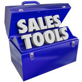 Sales Tools Words Toolbox Selling Technique Scheme. The words Sales Tools in a green metal toolbox to illustrate selling techniques, methods, schemes, plans or vector illustration