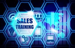 Sales Training blue background model concept Royalty Free Stock Photography