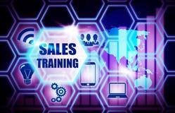 Sales Training blue background model concept Stock Image