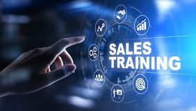 Sales training, business development and financial growth concept on virtual screen. Sales training, business development and financial growth concept on royalty free stock photography