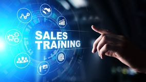 Sales training, business development and financial growth concept on virtual screen. Sales training, business development and financial growth concept on stock photography