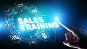 Sales training, business development and financial growth concept on virtual screen. stock images