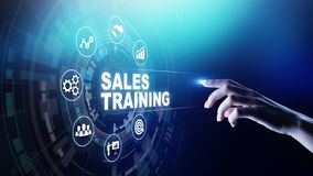 Sales training, business development and financial growth concept on virtual screen. Sales training, business development and financial growth concept on stock image