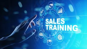 Sales training, business development and financial growth concept on virtual screen. Sales training, business development and financial growth concept on royalty free stock photo
