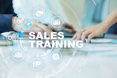 Sales training, Business development and marketing concept on virtual screen. Sales training, Business development and marketing concept on virtual screen royalty free stock photo