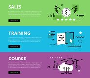 Sales Training Course. Web banners  set. Flat line web banners of sales training on-line. Line money symbol, e-book and mortarboard for websites and marketing Royalty Free Stock Photo