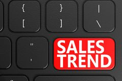 Sales Trend on black keyboard. 3D rendering Royalty Free Stock Image