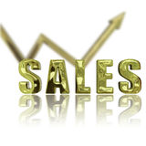 Sales Up & Up. Gold rendered sales graphic depicting success & improvement Royalty Free Stock Photos