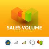 Sales volume icon in different style Stock Images