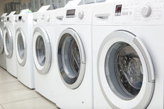 Sales of washing machines in the store Royalty Free Stock Images